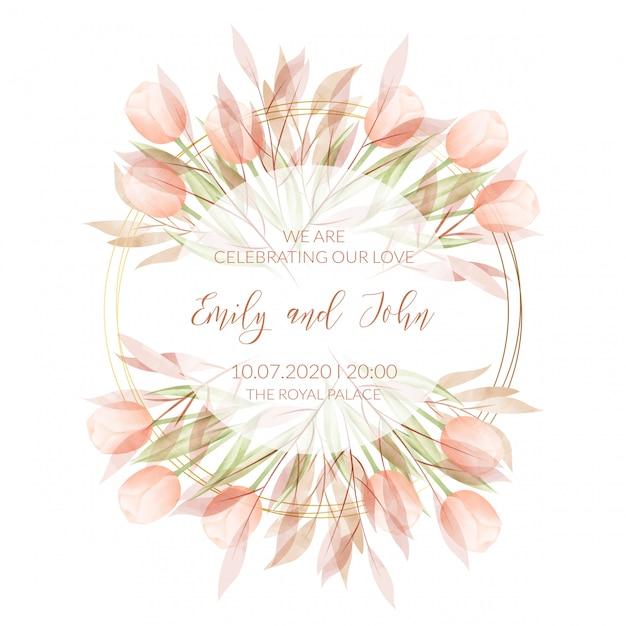 Шаблон свадебного приглашения с акварельными цветами Premium векторы
