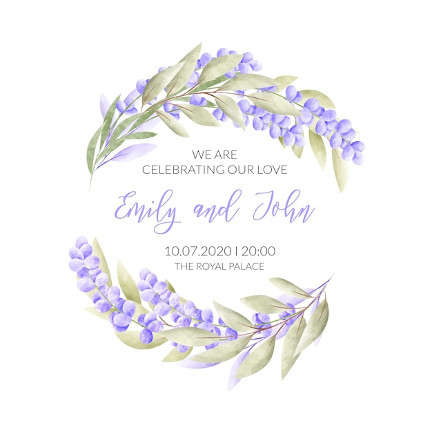 Свадебная открытка с цветочной рамкой Бесплатные векторы