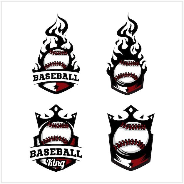 野球ボールの火と王のバッジのロゴ Premiumベクター