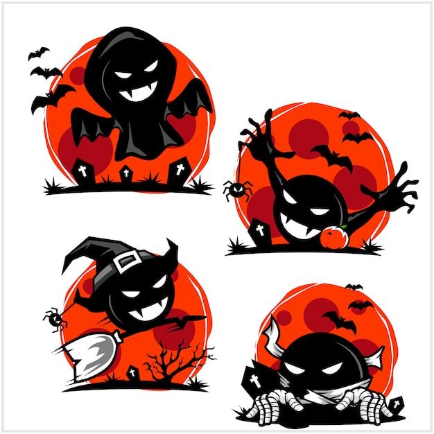 Хэллоуин череп мультфильм набор логотипов Premium векторы