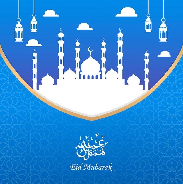 Ид мубарак дизайн поздравительной открытки с силуэтом мечети и фонаря Premium векторы