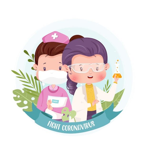 Иллюстрация концепции характера медсестры доктора и ученого с коронавирусом Premium векторы