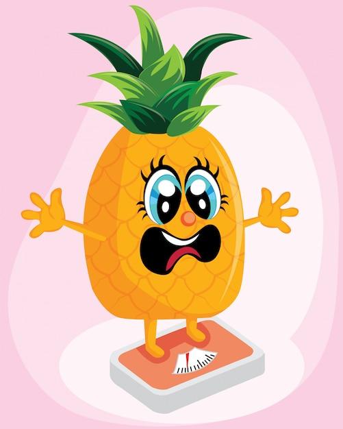 体重減少のためのスケールに立っているパイナップル Premiumベクター