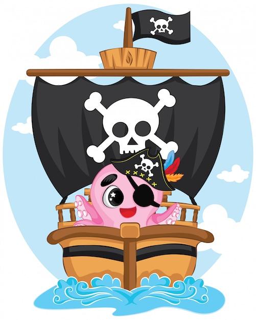 海のかわいいタコ海賊 Premiumベクター