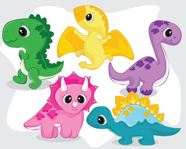 Симпатичные маленькие детские коллекции динозавров Premium векторы