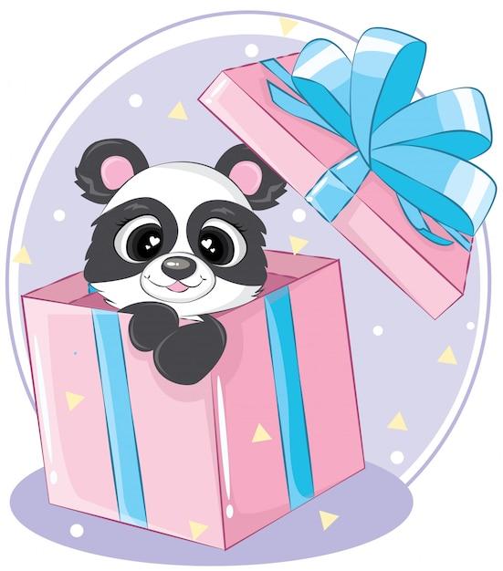 ピンクのギフトボックスにボクシングの日パンダのクマ Premiumベクター