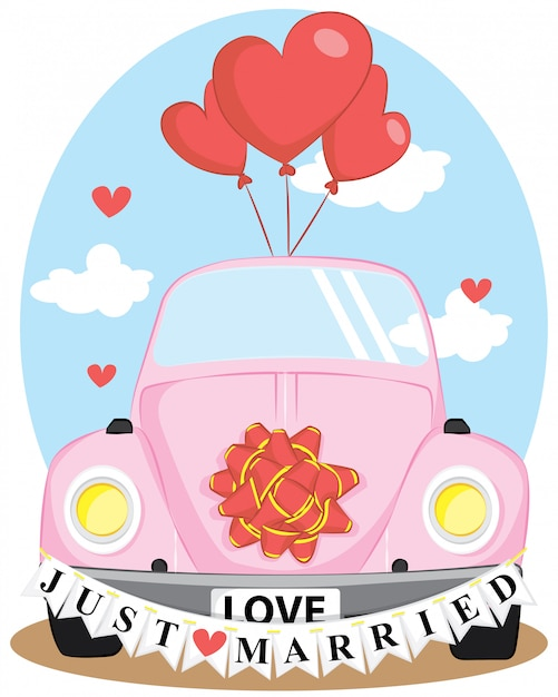 Только что вышла замуж свадебный автомобиль с любовным воздушным шаром Premium векторы