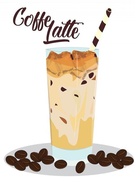 白い背景の上のグラスにアイスコーヒーラテ Premiumベクター