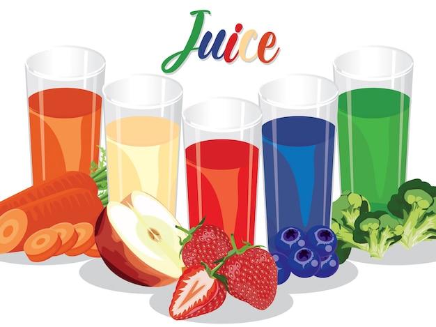 健康とダイエットのための新鮮な果物と野菜ジュース Premiumベクター