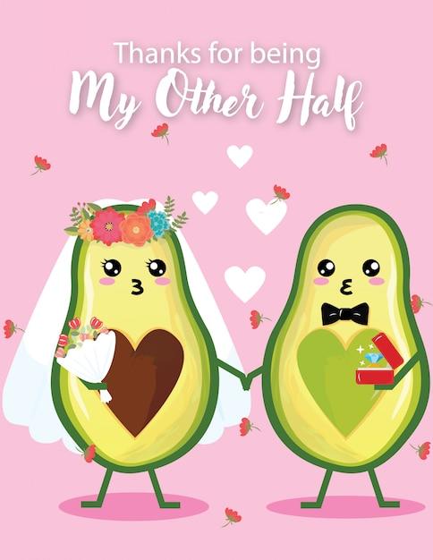 Приглашение на свадьбу симпатичный день свадьбы авокадо Premium векторы