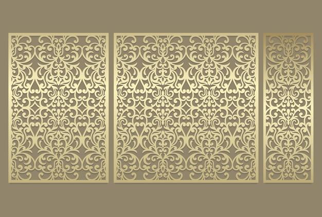 レーザーカットパネルデザイン。レーザー切断、ステンドグラス、ガラスエッチング、サンドブラスト、木彫り、カード製造、結婚式の招待状の華やかなビンテージボーダーテンプレート。 Premiumベクター