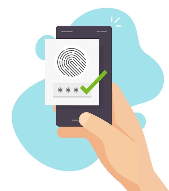 携帯電話またはスマートフォンの指紋認証による安全な認証と承認で、デジタルバイオメトリックセンサーを介した指紋セキュリティ識別 Premiumベクター