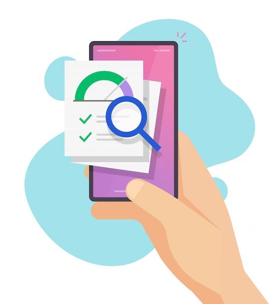 Оценка кредитного рейтинга онлайн и оценка истории финансовой информации на мобильном телефоне смартфон вектор плоский Premium векторы