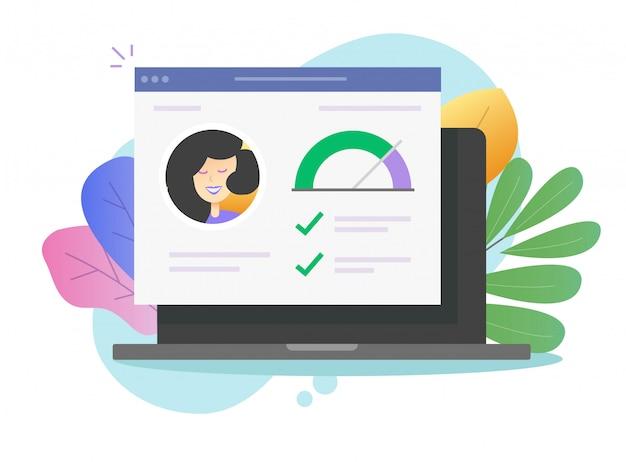 Личная информация истории навыков и хорошая оценка данных на ноутбуке онлайн вектор Premium векторы