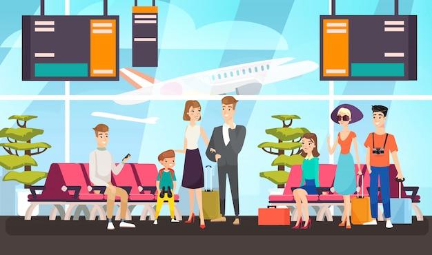 フライトフラットイラストを待っている空港の乗客。出発ラウンジに座っている旅行者。飛行機の離陸を期待して荷物を持つ漫画の観光客。国際航空会社のクライアント。 Premiumベクター