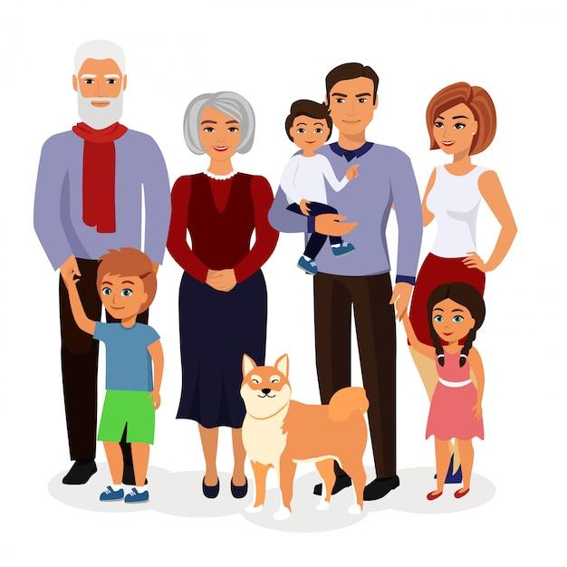Иллюстрация счастливой семьи. отец, мать, дедушка, бабушка, дети и собаки в мультяшном стиле. Premium векторы