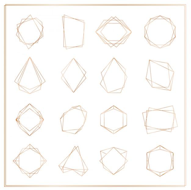 Иллюстрация золотых сегментов кадров, изолированных на белом фоне. геометрическая многогранник тонкая линия кадры коллекции для свадебного приглашения, открытки, логотип, элементы для веб-баннера. Premium векторы