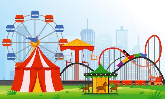 Элементы парка развлечений иллюстрации на фоне современного города. семейный отдых в аттракционах с красочным колесом обозрения, каруселью, цирком в плоском стиле. Premium векторы