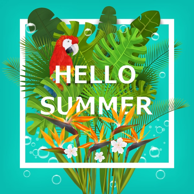 こんにちは、熱帯植物と花の夏の背景。誤植、バナー、ポスター、パーティの招待状。図 Premiumベクター