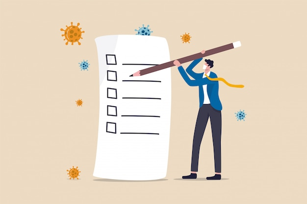 リストまたは新しい通常のポストパンデミックの概念を行うには、鉛筆書きチェックリスト、ウイルス病原体を保持している実業家。 Premiumベクター