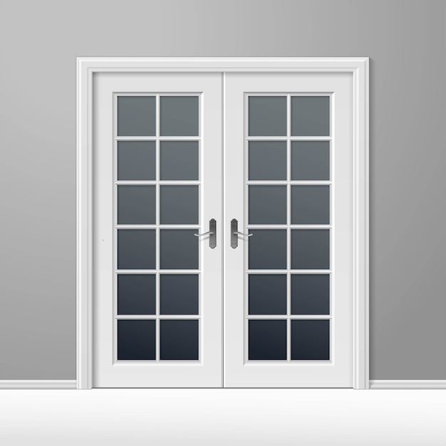 フレームとベクトル白い閉じたドア Premiumベクター