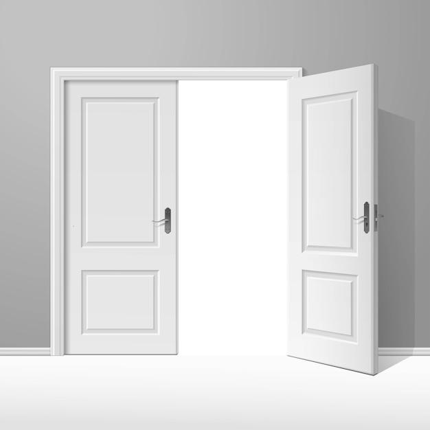 フレームとベクトル白い開いたドア Premiumベクター
