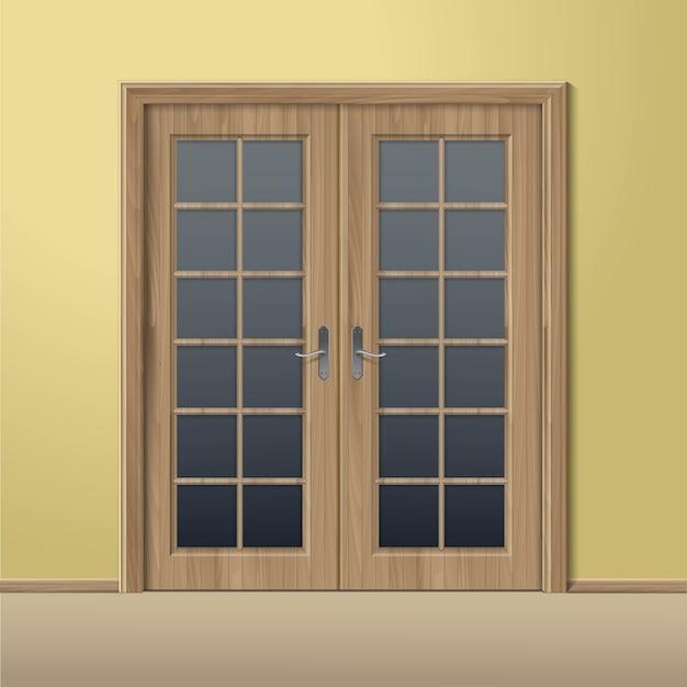 分離されたフレームとベクトル木閉じたドア Premiumベクター