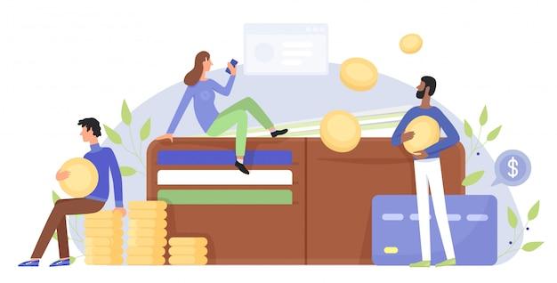Финансы, бизнес характер плоской иллюстрации концепции с людьми возле гигантского кошелька Premium векторы