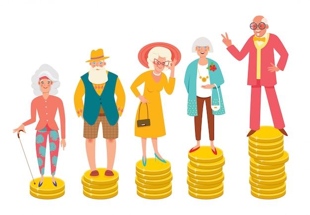 В возрасте людей, стоящих на кучах разной высоты монет. разница в пенсиях, благосостояние, пенсионный возраст, старение населения. современная иллюстрация. Premium векторы