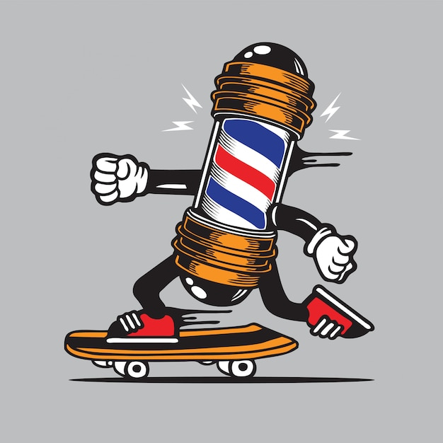 バーバーポールサインスケートスケートボードキャラクターデザイン Premiumベクター