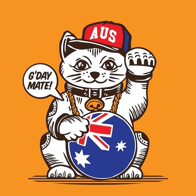 ラッキーフォーチュンキャットオーストラリア国旗キャラクターデザイン Premiumベクター