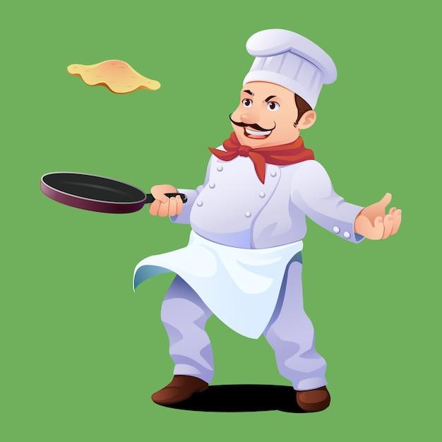 シェフ料理オムレツ Premiumベクター