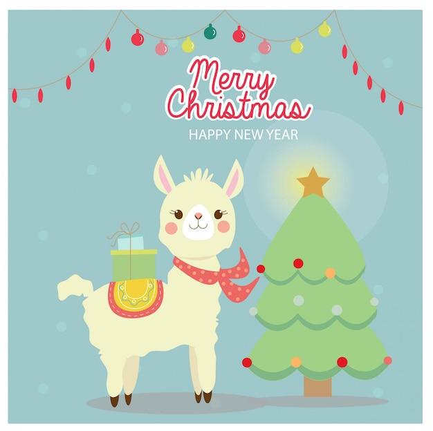 クリスマスグリーティングカードのかわいいラマ Premiumベクター