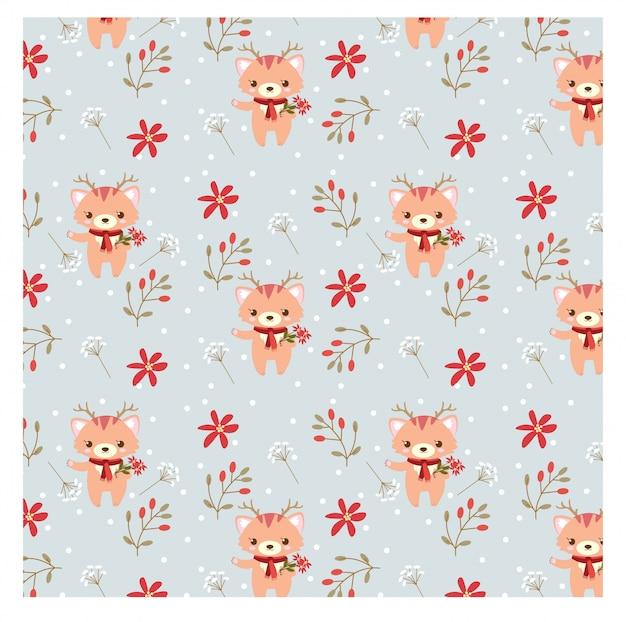 幸せな猫と花のクリスマスコンセプトのパターン Premiumベクター
