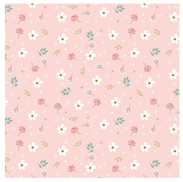 ピンクの背景にパステルの花とポルカドットのパターン Premiumベクター