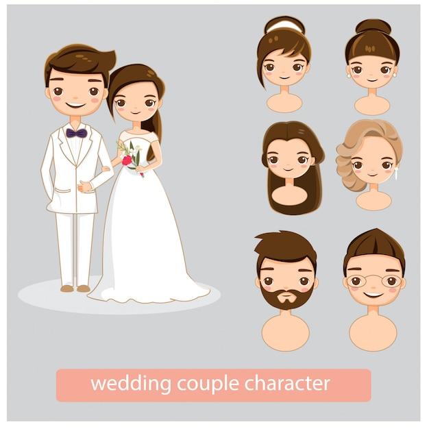 結婚式のカップルのキャラクターコレクションセット Premiumベクター