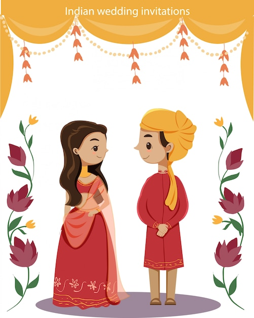 結婚式の招待状カードのためのかわいいインドのカップル Premiumベクター