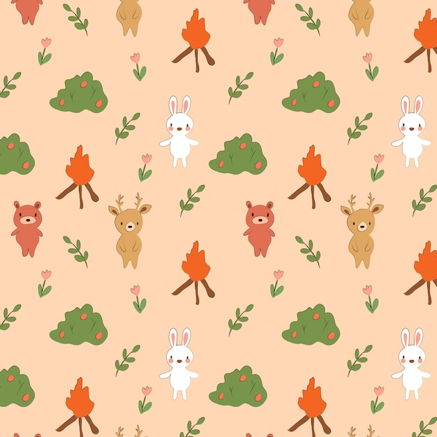かわいいクマ、ウサギ、森林の鹿のパターン Premiumベクター