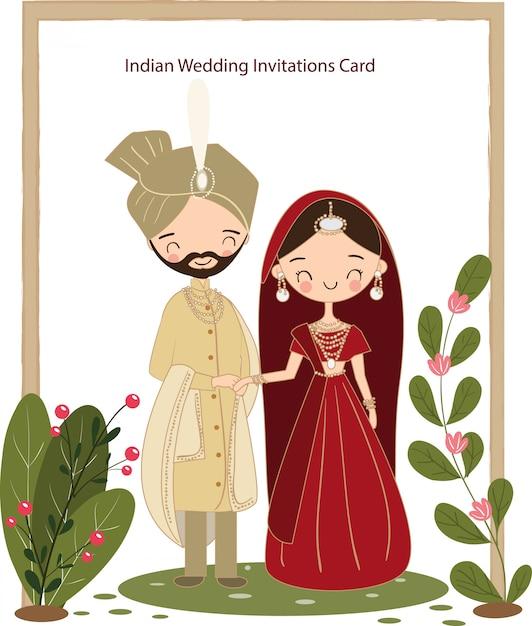 結婚式の招待状のかわいいインドカップル Premiumベクター