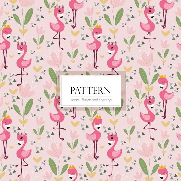 ピンクの花とフラミンゴの鳥のシームレスパターン Premiumベクター