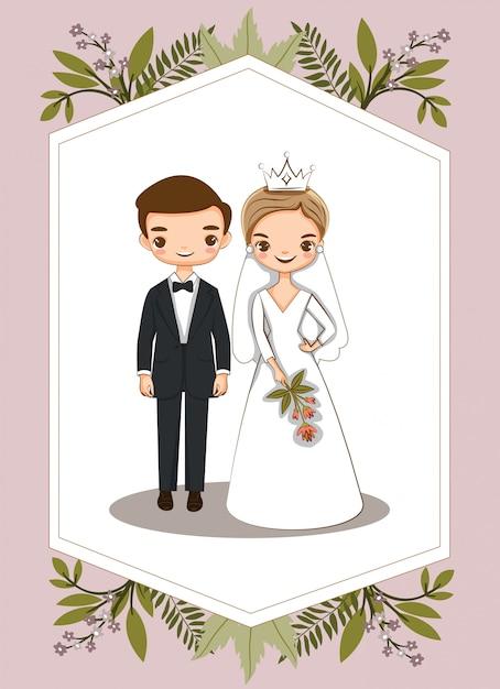 結婚式の招待状のかわいいカップル Premiumベクター