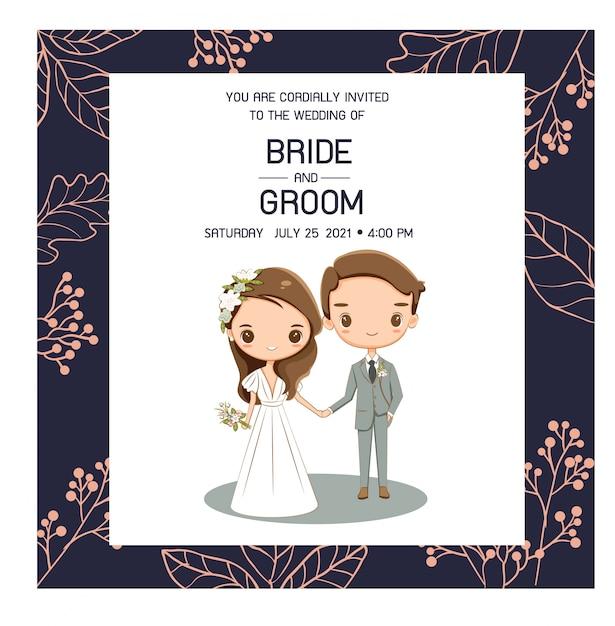 結婚式の招待カードのためのかわいい結婚式のカップル Premiumベクター
