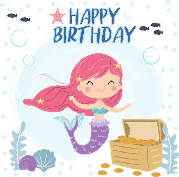 誕生日グリーティングカードの海の下のかわいい人魚 Premiumベクター