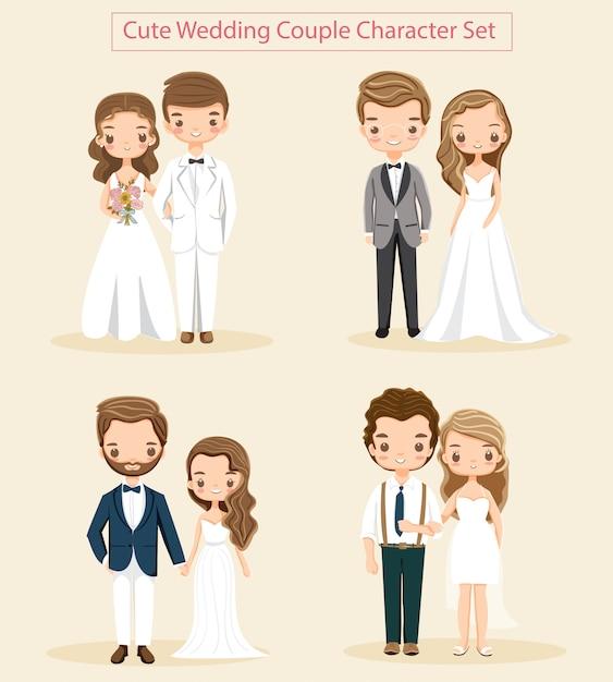 かわいい結婚式のカップルの文字セットのベクトル Premiumベクター