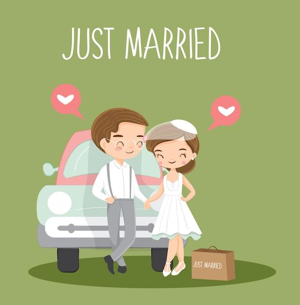 かわいいビンテージカップル結婚したばかりの漫画 Premiumベクター