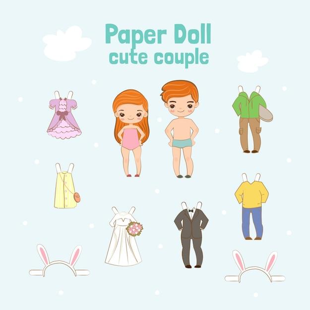 かわいい紙人形カップルのキャラクター Premiumベクター