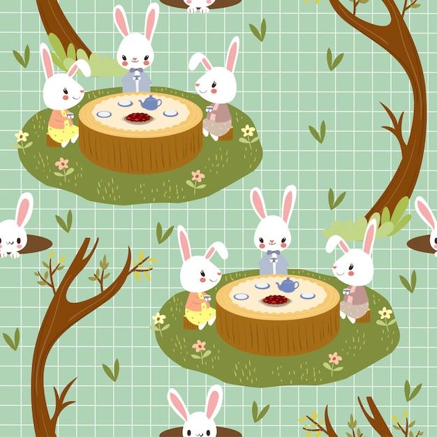 ウサギは森林のシームレスなパターンでティーパーティーを楽しむ Premiumベクター