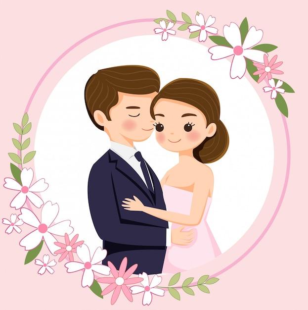 結婚式の招待状のかわいい漫画カップル Premiumベクター