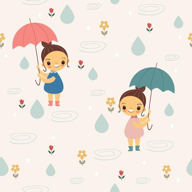 Милая девушка с зонтиком под дождем бесшовные модели Premium векторы