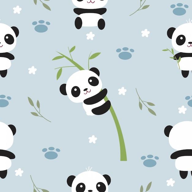 Симпатичные панда и бамбуковое дерево бесшовные модели Premium векторы